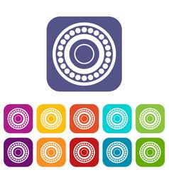 bearing icons set flat vector image