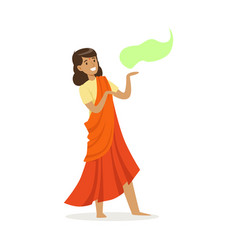 beautiful indian woman in an orange sari dancing vector image