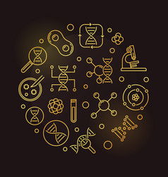 Biochemistry circular golden outline vector