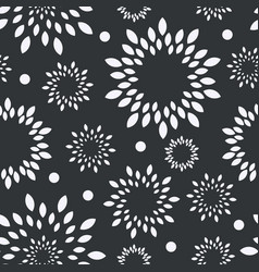 black and white floral background monochrome vector image