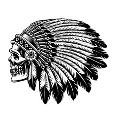 Black and white of an indian skull vector