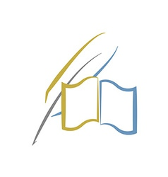 book and feather education or literature logo vector image