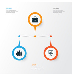 Business icons set collection of group suitcase vector