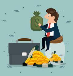 businessman character with economy icons vector image