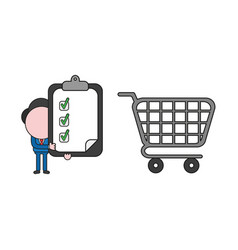 businessman character with shopping cart and vector image