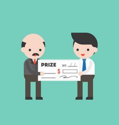 Businessman receiving a big money check prize vector