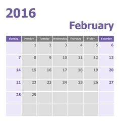 Calendar February 2016 week starts from Sunday vector