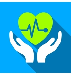 Cardiology Care Hands Flat Long Shadow Square Icon vector image