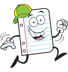 Cartoon Notebook Paper Running vector