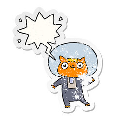 Cartoon space cat and speech bubble distressed vector