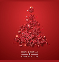 christmas tree background with shining red vector image