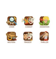 Cinema genres set crime comedy animation vector