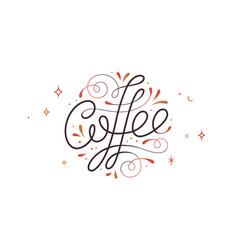 coffee hand drawn lettering text logo vector image