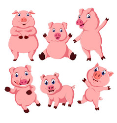 collection of the pink pig vector image