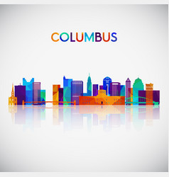 columbus skyline silhouette vector image