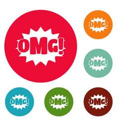 comic boom omg icons circle set vector image