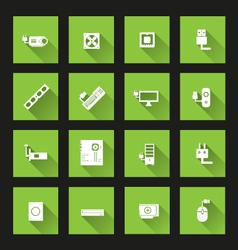 Computer hardware icons long shadow vector