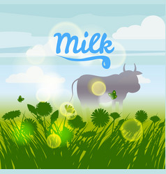 cow green field flowers sky camomile grass vector image