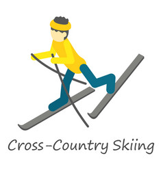 Cross country skiing icon isometric style vector