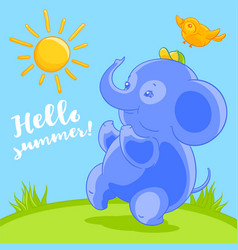 cute blue baby elephant and the pretty bird in vector image