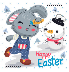 Cute cartoon rabbit girl enjoying easter holiday vector