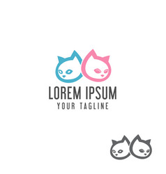 cute cat head logo design concept template vector image