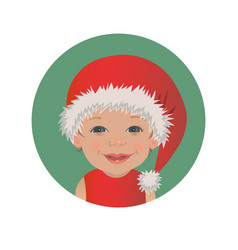 cute smiling baby santa claus emoticon vector image
