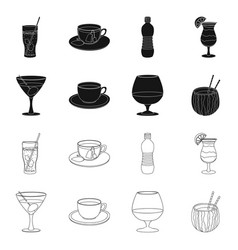 Drink and bar sign set of vector