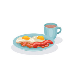 Eggs ham and cup of coffee traditional english vector
