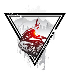 emblem with mountain bike and helmet downhill vector image