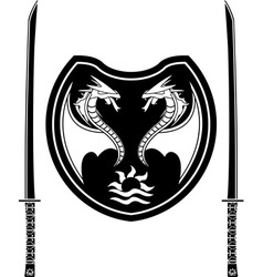 fantasy shield and swords eastern warriors vector image