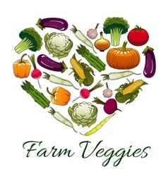 Farm veggies emblem in shape of heart vector image