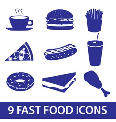 fast food icons set eps10 vector image