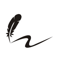 feather pen logo vector image