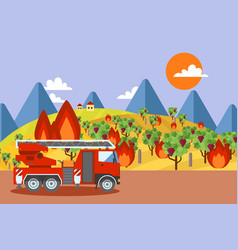 Fire truck at burning vineyard wildfire disaster vector