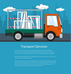Flyer of small truck transports windows vector