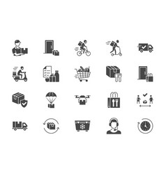 food delivery flat icons vector image