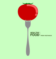 fork with a tomato healthy food concept vector image
