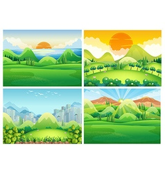 Four scenes of nature at daytime vector image