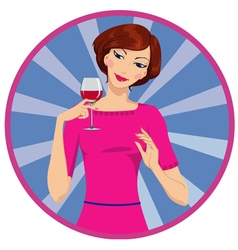 girl drinking red wine vector image