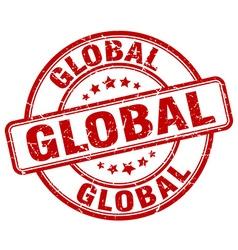 global red grunge round vintage rubber stamp vector image