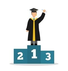 Graduation cap and boy avatar icon University vector