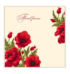 Greeting card with bouquet of poppies vector