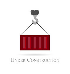 grey construction crane logo with red cargo vector image