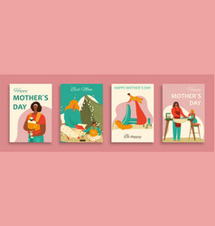 happy mothers day banners set with mom and baby vector image