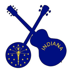 Indiana state flag banjo and guitar silhouette vector