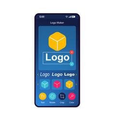 Logo maker app smartphone interface template vector