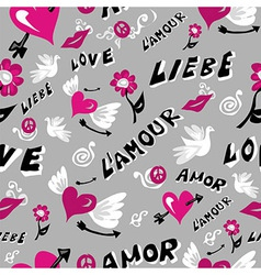 Love icons seamless pattern vector image