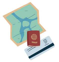 Map and passport passing board or ticket vector