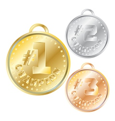 Medals for first second third place vector